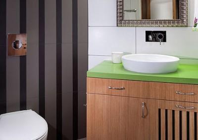 חדר אמבטיה אורחים בגוונים של ירוק לבן ואפור
