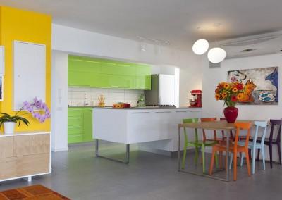 מטבח ירוק ופינת אוכל עם כיסאות צבעוניים.