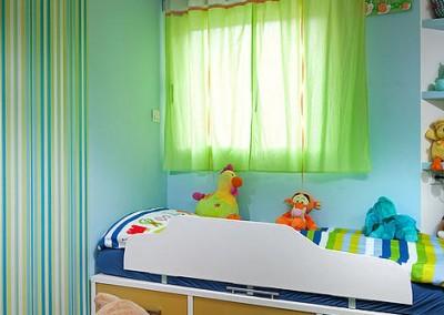 חדר ילדים צבעוני בגווני ירוק ותכלת