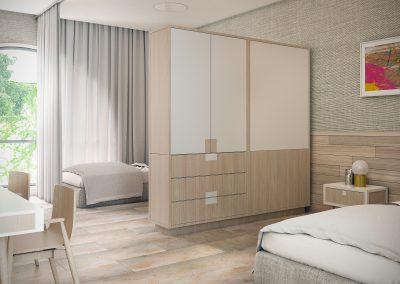 הדמיית חדר משותף במלון